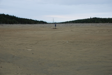 Metal mine waste tailings dam in Nova Scotia, Canada