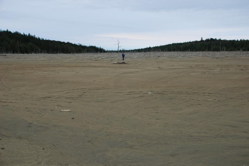 Metal mine waste tailings dam in Nova Scotia, Canada